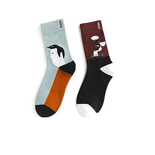 Kleurrijke sokken, 3 paar lente, zomer, zwarte sokken, modieus, eenvoudig, asymmetrisch karakter, patroon, katoen, ademend, comfortabele buis, heren en dames, sokken, paar katoenen sokken, persoonlijkheid jurk