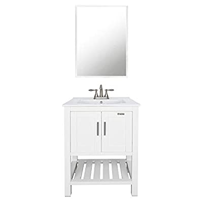 """eclife 24"""" Bathroom Vanity Sink Combo W/Overflow White Drop in 3 Hole Ceramic Vessel Sink Top & White MDF Modern Bathroom Cabinet & Brushed Nickel Solid Brass Faucet W/Mirror DN02T01B07W"""