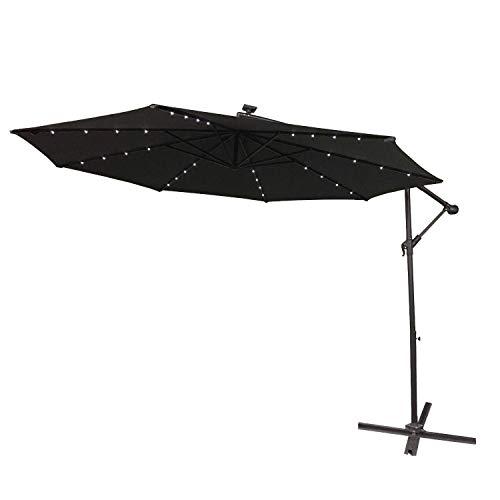 HENGMEI Ø350 cm ALU Sonnenschirm Gartenschirm Ampelschirm Strandschirm Kurbelschirm Neigbar Marktschirm Terrassenschirm UV Schutz 40+, mit Solar LED (Ø350 cm mit LED, Dunkelgrau)