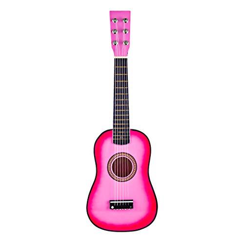 Haunen Holzgitarre, 23 Zoll Kindergitarre mit 6 Saiten Musikinstrument Spielzeug Kinder ab 3 Jahre (Rosa)