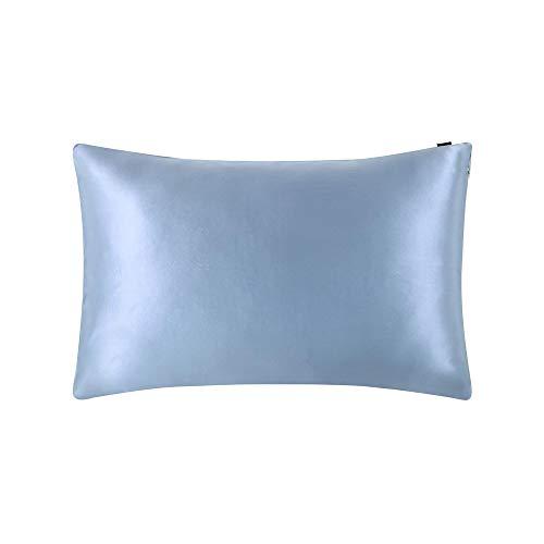 LilySilk Taie d'oreiller en Soie Housse de Coissin Protège Oreiller Doux Prend Soin de Votre Peau Antichute de Cheveux Anti-acariens Hypoallergénique 50x70cm Bleu Clair