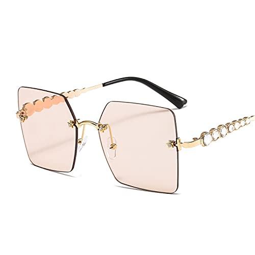 Occhiali da Sole da Uomo Occhiali da Sole Quadrati Senza Cornice Occhiali da Sole di Lusso da Donna Occhiali da Sole Oversize con Strass Occhiali da Sole Moda Uomo Uv400 C4Goldchampagne