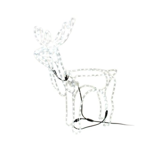 WeRChristmas Christmas Animated LED Rope Light Standing Reindeer with Moving Head, 90 cm - White