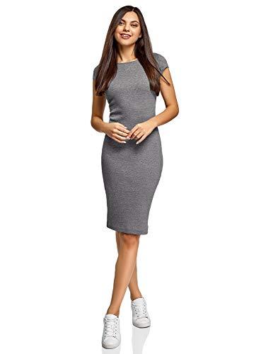 oodji Collection Damen Midi-Kleid mit Ausschnitt am Rücken, Grau, DE 38 / EU 40 / M