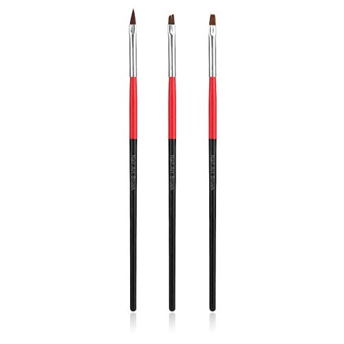 Greatangle 3 pcs Mode Nail Art Dessin Peinture Brosses Acrylique Conception UV Gel Stylo Dessin Peinture Ensemble Outil Professionnel Nail Salon