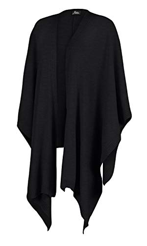 Mikos* Damen Poncho Strickponcho Poncho-Schal Cape für Frauen Sweatshirt - Stola für Sommer, Herbst und Winter Leicht Kuschelig Beige Grau Schwarz One Size (991) (Schwarz)