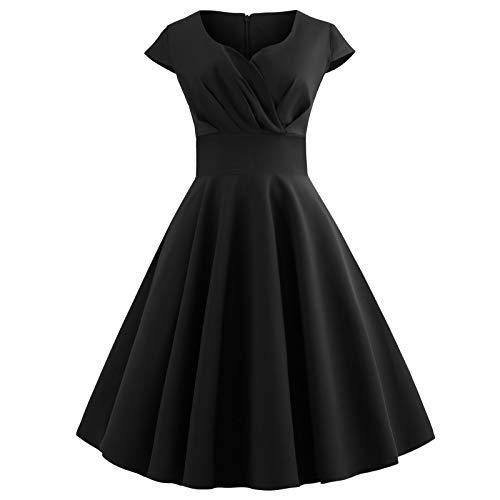 TICOOK Damenmode V-Ausschnitt Kurzarm Einfarbig Party Plissee Kleid