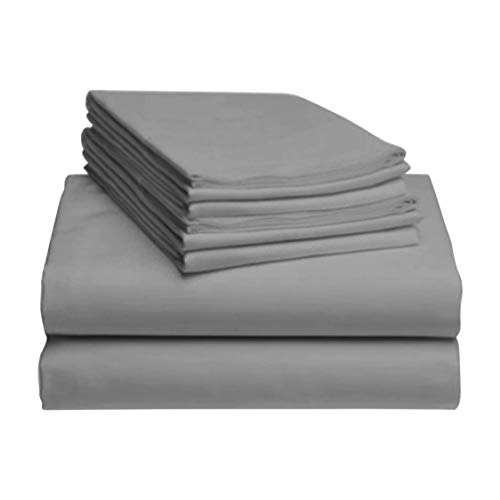 LuxClub 6 PC Sheet Set Bamboo Sheets Deep Pockets 18' Eco Friendly Wrinkle Free Sheets Hypoallergenic Anti-Bacteria Machine Washable Hotel Bedding Silky Soft - Light Grey King