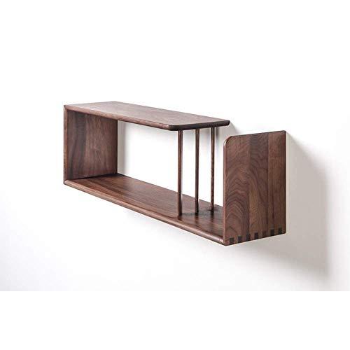 WJSW Regal Massivholz-Wandschränke, Küchen-Wandschränke, Wandregale-90 * 21 * 28cm Kreatives Wandregal (Farbe: Nussbaum schwarz)