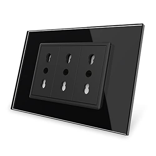Livolo Italia Presa a 3 pin nero Crystal Wall Power con spina, 16A, 250V, C9C3IT-12