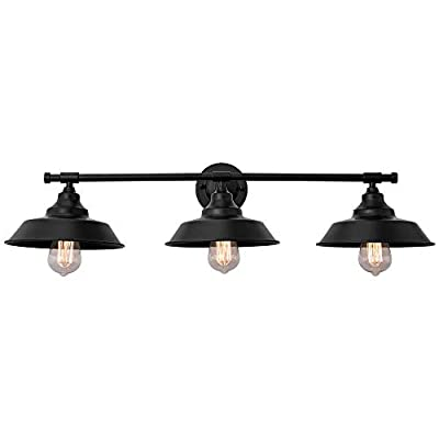 KOSTOMO 3-Light Wall Sconce Bathroom Vanity Wall Light Fixtures Oil Rubbed Black Baking Paint Finish Metal Shade Industrial Rustic Wall Lighting for Kitchen Farmhouse Living Room Indoor Outdoor
