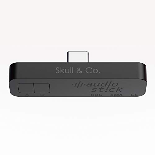 Skull & Co. AudioStick Bluetooth 5.0 Wireless Audio Transmitter Adapter Low Latency for Nintendo Switch/Lite, PS4 / Other Devices, Optimised for AirPods/Pro - Black