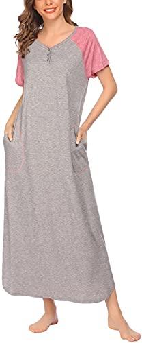 HOTLOOX Nachthemd Knöpfe Damen Baumwolle Nachtkleid Kurzarm Schlafshirt Große Nachtshirt V-Ausschnitt Schlafkleid Grau L