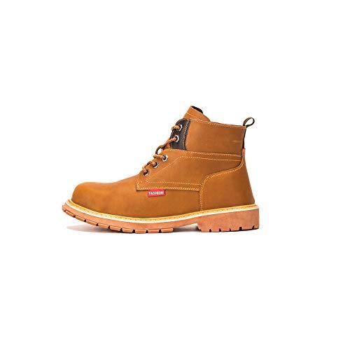 YMGW Calzado Deportivo Masculino de Seguridad con Puntera Zapatos de Trabajo al Tobillo de Senderismo de Cuero Unisex,Amarillo,EU38