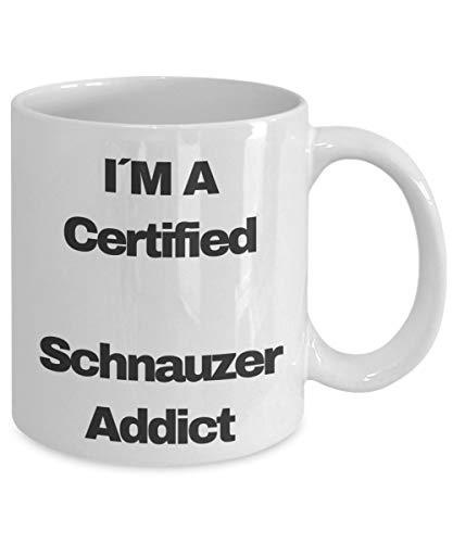 Taza de regalos de Schnauzer miniatura Divertido - I & acute; M A SCHNAUZER ADICTO CERTIFICADO - Taza de amante de perro de té de café negro