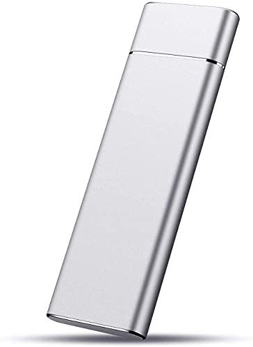 Disco rigido esterno da SSD 2TB, disco rigido portatile, archiviazione dati su disco rigido esterno sottile USB 3.1/Type-C, compatibile con PC, computer portatile e Mac (2TB, Silver) (Silver)