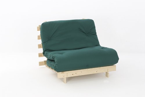 Comfy Living 3ft Single (90cm) Wooden Futon Set with PREMIUM Glade Green Mattress