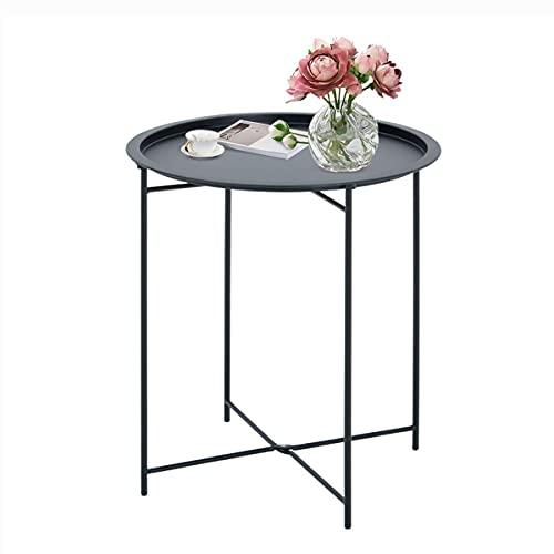 Tavolino Rotondo da Caffè moderno Vassoio Rimovibile Tavolo in Metallo Robusto Tavolino da Salotto per Balcone Giardino Ufficio Camera da Letto etc.(Nero)