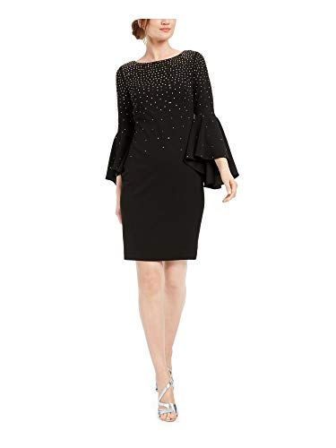Calvin Klein Womens Black Embellished Bell Sleeve Jewel Neck Above The Knee Sheath Cocktail Dress Size 8