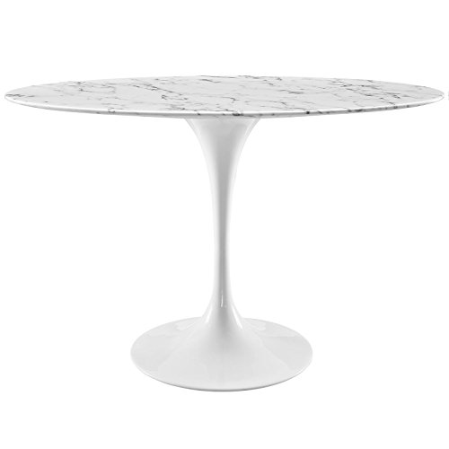 """Modway Lippa 48"""" Oval-Shaped Mid-Century Modern Dining Table with Artificial Marble Top and White Base"""