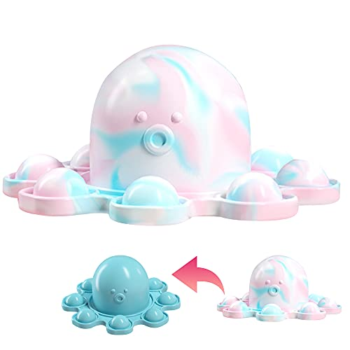 Double-Sided Flip Reversible octopus, Push Pop Bubble Fidget Toy Squeeze Sensory Tools to Relieve Emotional Stress Anxiety Relief Toys cute Mood Key chain Ornaments for Adult Kids Girl Boy