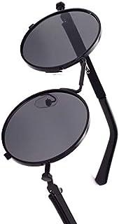 نظارة شمسية باطار معدن بتصميم دائري ونمط رترو للرجال، نظارات شمسية مُزينة