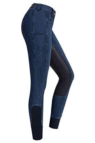 RIDERS CHOICE Damen Jeansreithose mit Silikonvollbesatz und Handytasche - RidersDeal Collection für Reiter, Gr. 42