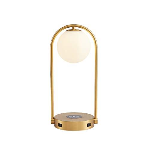 LYLY Lámpara de Mesa USB Moderna lámpara de Mesa Sala Lámparas de Mesa Cargador inalámbrico Dormitorio Lámparas de Mesa de Noche Lámpara Escritorio Lámpara Mesilla (Color : Gold)