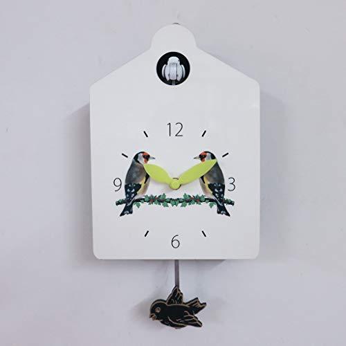 ANYDERTS Reloj de Pared de Madera, Reloj de Pared de Cuco Llamativa pequeña casa de pájaros con decoración de hogar de pájaros Diseño Natural Simple