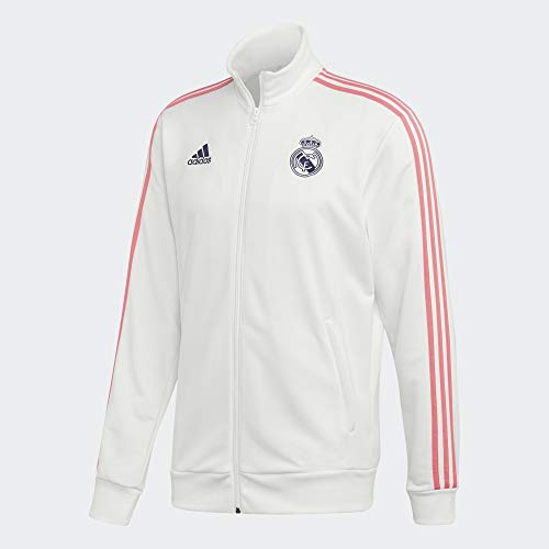 adidas mens 20/21 Real Madrid 3-Stripes Track Top White/Dark Blue Large