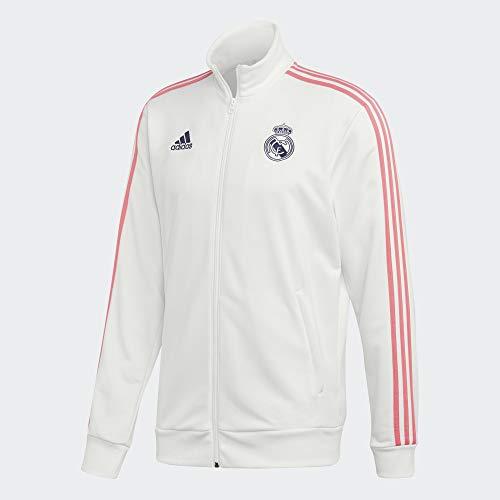 adidas mens 20/21 Real Madrid 3-Stripes Track Top White/Dark Blue X-Large