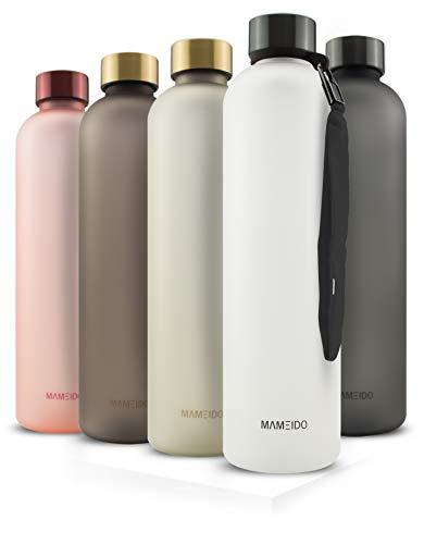 MAMEIDO Trinkflasche 1l - auslaufsicher, Kohlensäure geeignet, BPA frei - Zeitmarkierung als Trinkerinnerung - Wasserflasche aus Tritan (1000ml, Frosted White)
