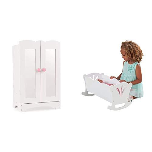 KidKraft Lil' Doll Armoire Armario de Madera Blanca con Perchas, Accesorio para Muebles de Dormitorio para muñecas de 45 cm (60132) + Cuna de Madera de Juguete con Ropa de Cama Rosa