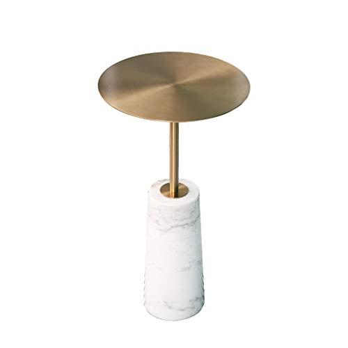 LICHUAN Mesa de centro de lujo de metal de metal, mesa de sofá con base de mármol, mesas auxiliares redondas, mesa de café, mesa auxiliar de salón (color blanco)