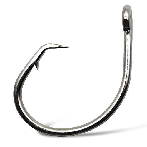 SILANON Fishing Hooks Tuna Circle Hook - 80pcs Stainless Steel Big Game Hooks 2X Strong Fish Short Shank Circle Saltwater Hook 12/0