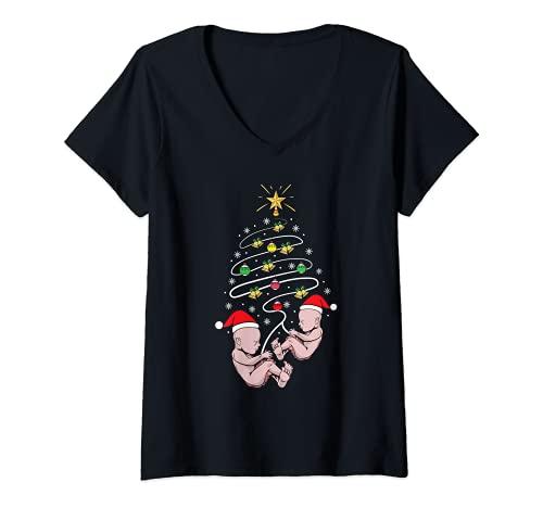 Mujer Bebé Twins Anuncio Ropa Vacaciones Navidad Embarazo Camiseta Cuello V