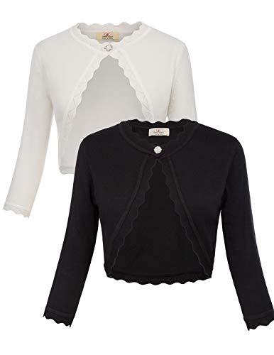 GRACE KARIN Women's Classic 3/4 Sleeve Open Front Knit Cropped Bolero Cardigan (Black+Ivory, Large)