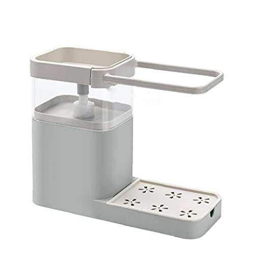 finebrand Fregadero De La Cocina para Guardar Caddie Estante Dispensador De Jabón Jabonera Dispensador De La Bomba Multifuncional Organizador Gris