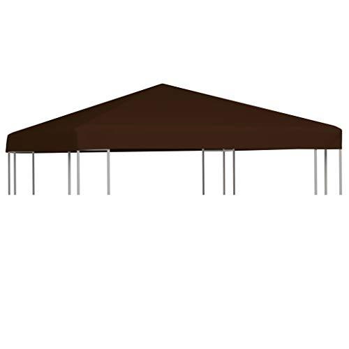 vidaXL Copertura Superiore per Gazebo Resistente Tetto per Tendone Protezione Tenda da Giardino a Strappo Poliestere e PVC 310g/m² 3x3 m Marrone