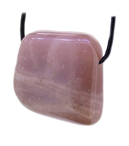 budawi® - echter Mondstein Trommelstein Anhänger gebohrt mit Lederband, Mondsteinschmuck
