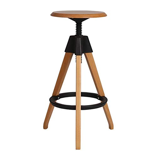 Price comparison product image QQXX Swivel Chairs,  Modern Simple European Style Solid Wood Round Rotate Lifting Creative Design High Stool Barstool Bar Bar Stool (Color : Black,  Size : 515176cm)