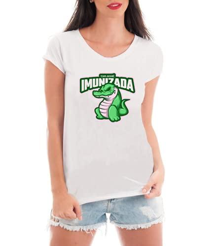 Camiseta Feminina Jacaré Imunizada - Vacina SUS - Fora Bolsonaro - #forabolsonaro - Camisas Engraçadas e Divertidas (Cinza, M)