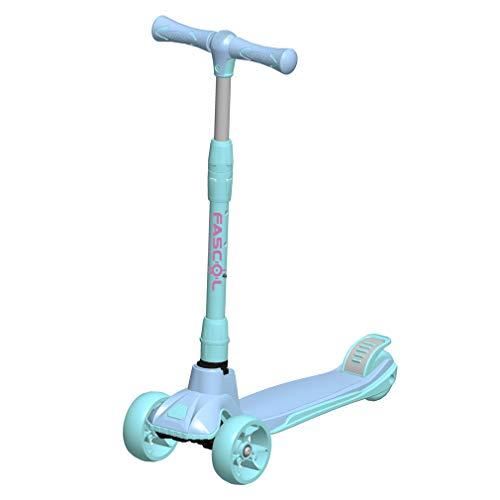 Fascol Kinderroller Kinder Scooter Höhenverstellbarer Faltbar Roller mit 4-PU Blinkenden Räder Tretroller für Kinder ab 3 Jahren, Belastbarkeit bis 60 kg, Blau