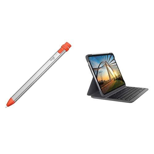 Logitech Crayon Lápiz Digital para Todos los iPad 2019 o posteriores y Slim Folio Pro Funda con Teclado inalámbrico para iPad Pro de 11 Pulgadas, 1a y 2a Gen, Teclado retroiluminado