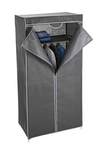 Spetebo Stoff Kleiderschrank grau 160 cm - Stoffschrank Faltschrank Campingschrank Faltkleiderschrank Garderoben Schrank