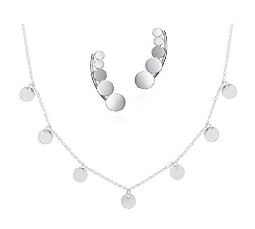 Ohrringe für Damen aus 925 Sterling Silber und Choker Silber mit hängenden Ohrsteckern Damen Silber Ohrmuscheln perfekte Halskette Damen Sterling Silber für ein originelles Geschenk Set