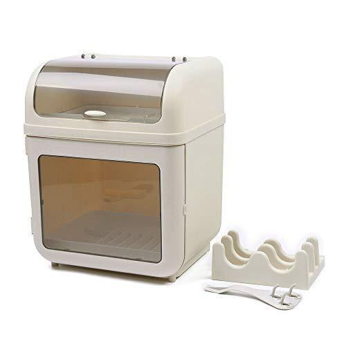 Covered Kitchen Dish Drying Rack Plastic Dustproof Drain Storage Box Basket Cutlery Holder Utensil Organizer with Lid 161 x 11 x 13