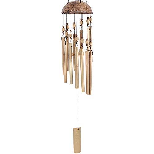 Robasiom Bambus-Windspiel, Windspiel für Haus und Garten (drinnen und draußen), Dekoration, langes Holz-Windspiel mit natürlichem Klang