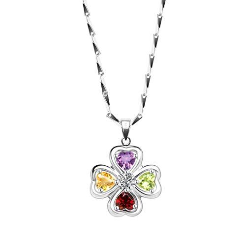 Collar de Mujer Collar del trébol del trébol colgante de piedras preciosas de color con plata de ley cristal collar de piedras preciosas collar de cadena de ropa for las mujeres Collares Pendientes