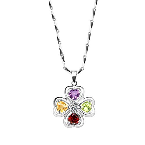 Necklaces Shamrock Clover Pendant Colored Gemstone Necklace With Sterling Silver Crystal Gemstone Necklace Clothes Chain Necklace For Women Choker Necklaces for Women Girls (Size : 40cm)